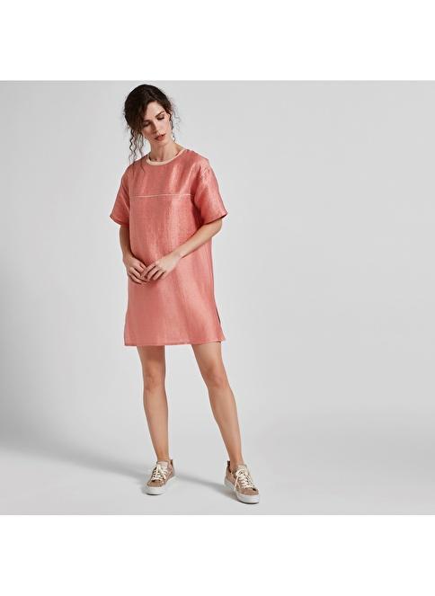 Vekem-Limited Edition Sıfır Yaka Rahat Kesim Mini Elbise Pembe